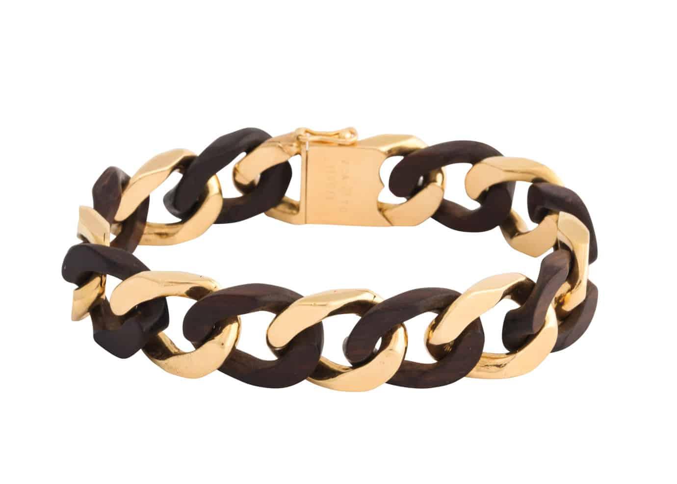 vca wood gold link bracelet