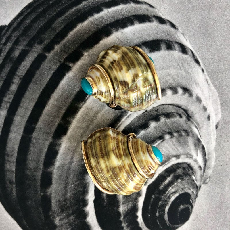 seaman schepps gold and turquoise earrings