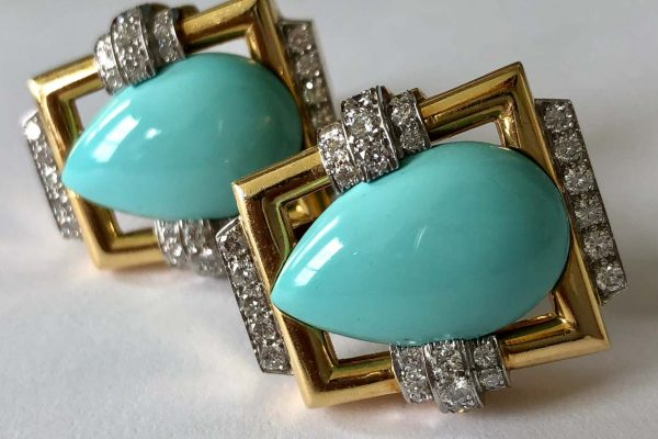 webb turquoise diamond gold ear clips