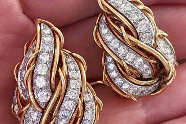 gold and diamond croissant earrings