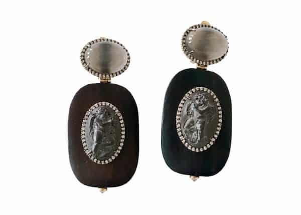 furmanovich volcanic rock and ebony earrings