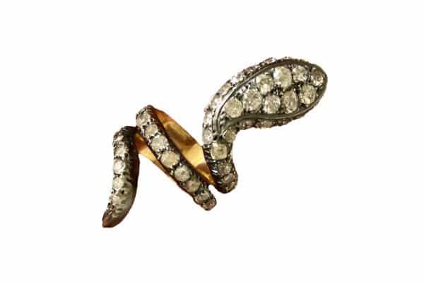 Old mine cut diamond snake ring