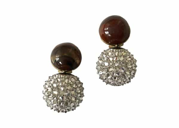 varney wood diamond earrings