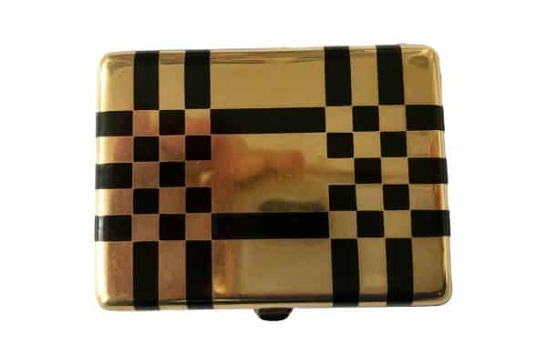 Enamel and gold checker box