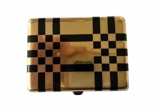 Enamel and gold checker box