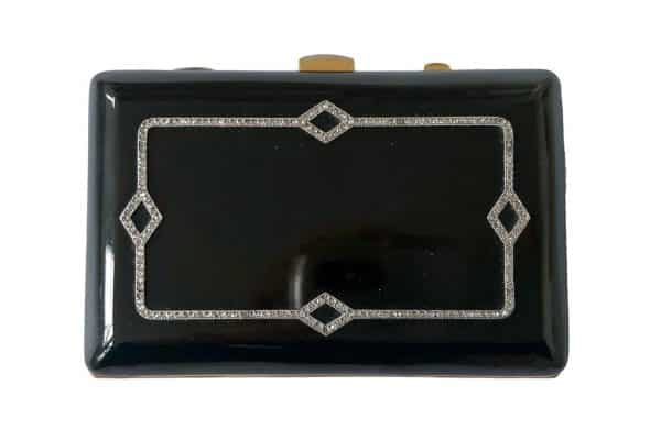 janesich black enamel and diamond box