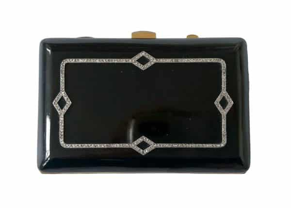 janesich black enamel and diamond box