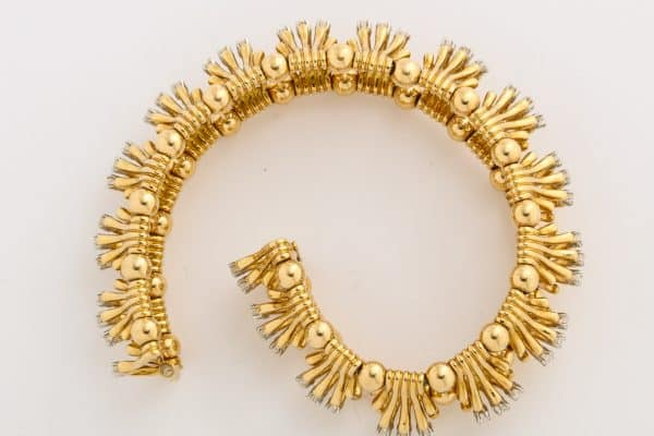 "schlumberger gold and diamond ""hands"" bracelet"