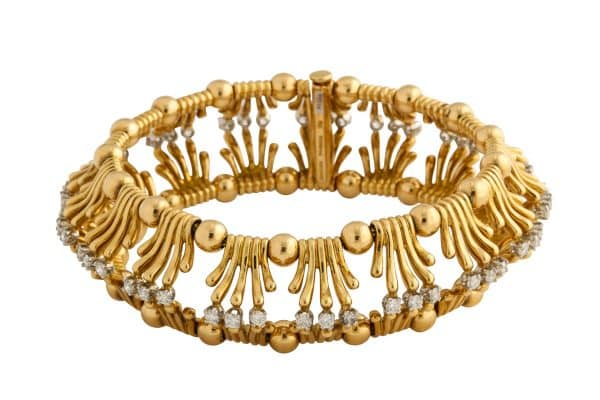 "schlumberger gold and diamond ""hands"" bracelet"