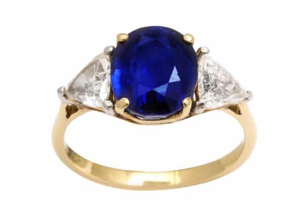 verdura three stone sapphire and diamond ring