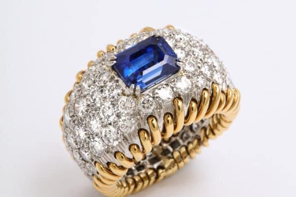 "Schlumberger diamond and sapphire ""stitches"" ring"