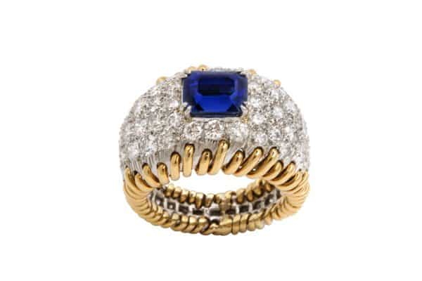 "Schlumberger diamond and sapphire ""stitches"" ring"