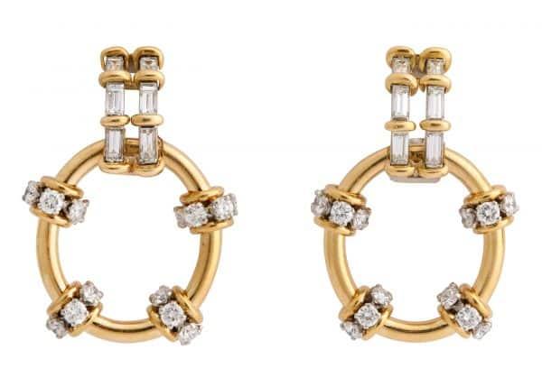 schlumberger diamond and gold doorknocker earrings