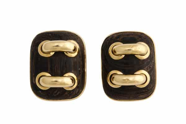 "Seaman Schepps wood and gold ""stitches"" earrings"