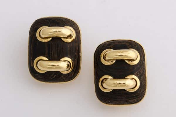 """Seaman Schepps wood and gold """"stitches"""" earrings"""