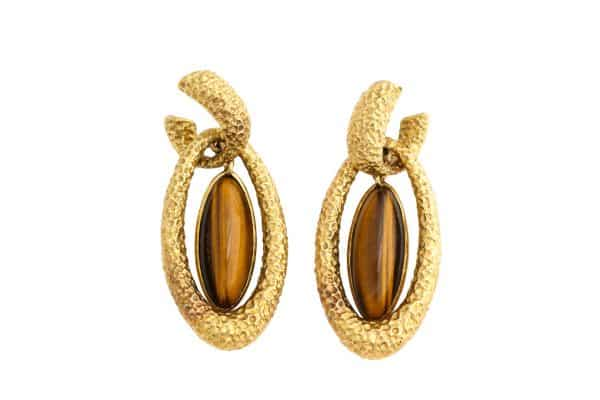 Van Cleef and Arpels tigers eye earrings