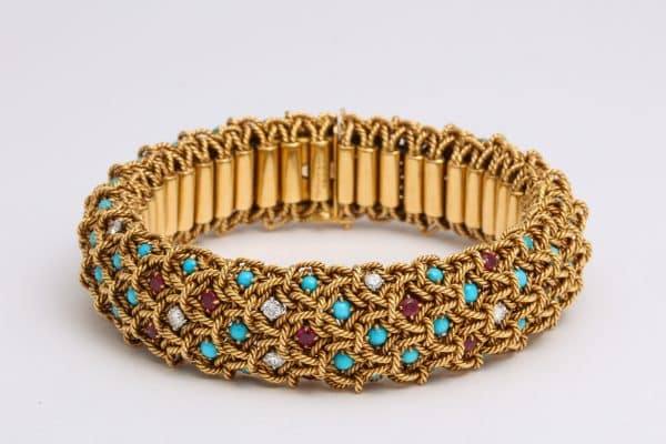 Van Cleef and Arpels turquoise, ruby and diamond rope twist cuff