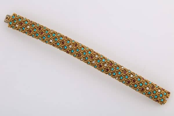 VanCleefand Arpels turquoise, ruby and diamond rope twist cuff