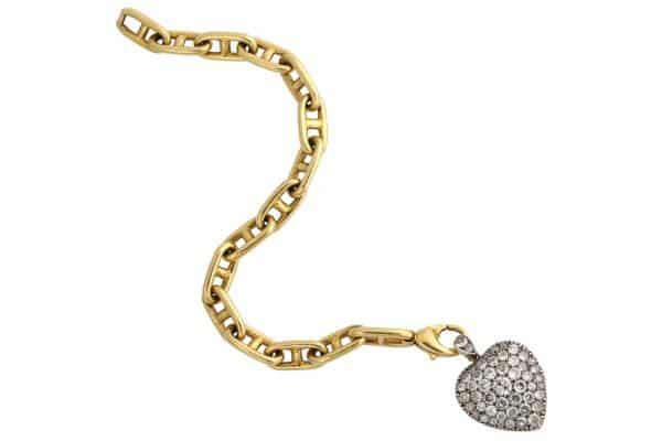 Tiffany nautical link chain with antique diamond heart
