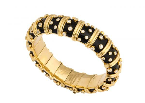 schlumberger for tiffany black paillone enamel dot et losange bracelet