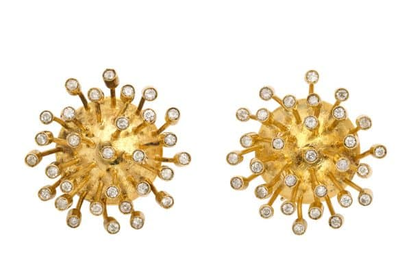 abstract gold and diamond sputnik earrings