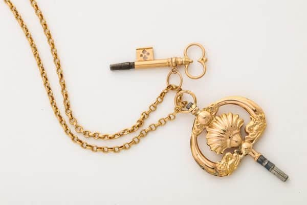 Antique 18k gold fob chain with antique keys